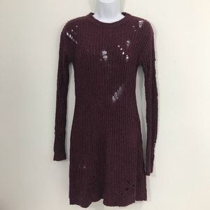 Planet Gold NWT Wine Sz S Distressed Sweater Jrs.